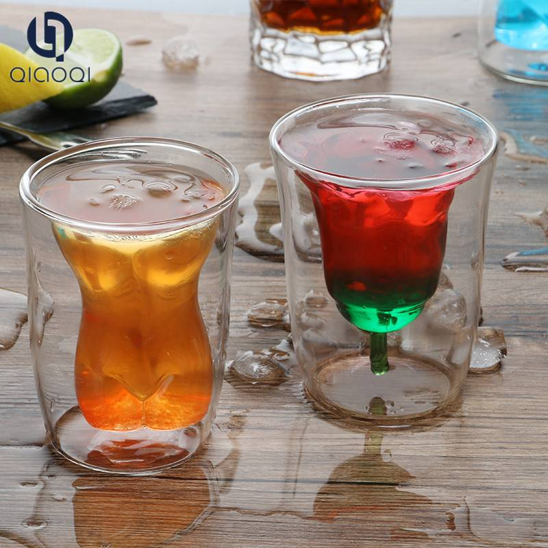 2019 custom logo Rose shape 180ml double walled glass cup