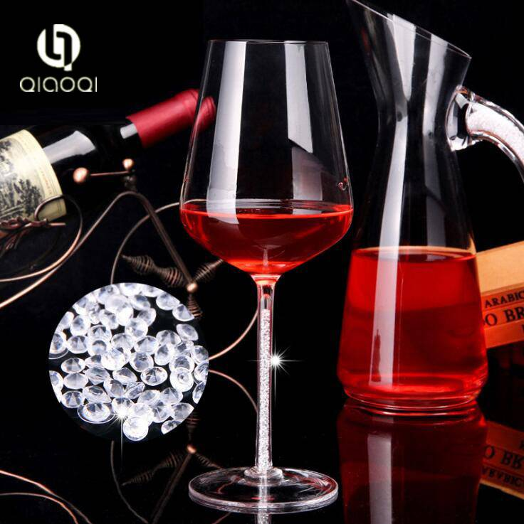 2018 New Design Custom Wine Glasses Goblet Glass Of Red Wine Cup with Diamond Stem