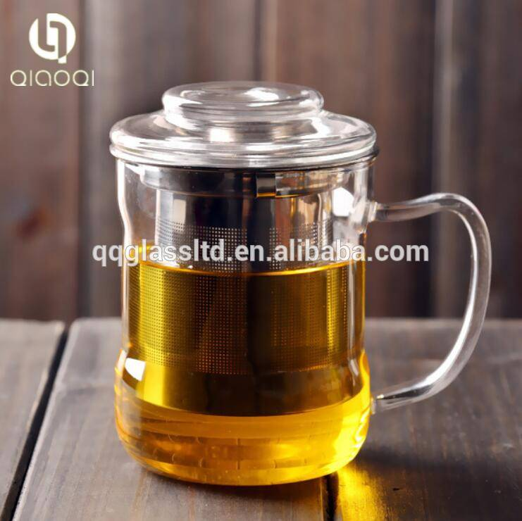 Heat Resistant Creative Glass Teacup Tea Maker Flower Tea Cup with Stainless Steel Infuser & Lid (350ml)