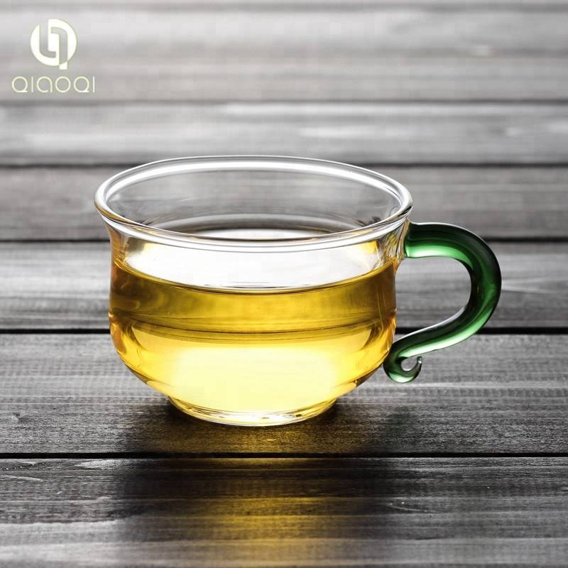 Factory Direct Sales Borosilicate Small Glass Tea Cup with Green Handle 130ml
