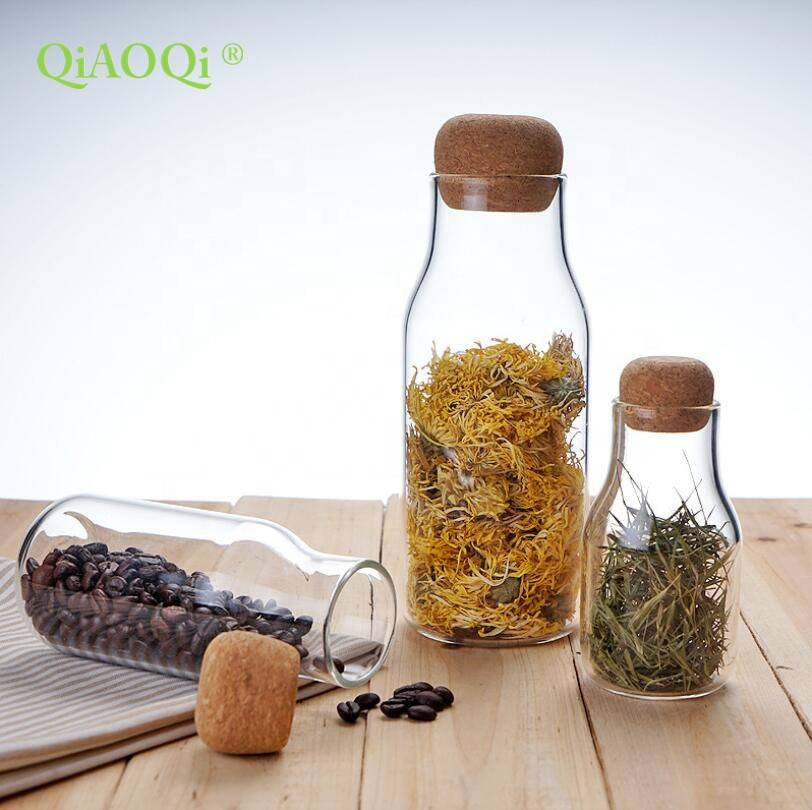 QiAOQi FDA Listed Glass Food Storage Glass Jar with Airtight Seal Cork Lid – Food Storage Canister for Serving Tea, Coffee, Spic