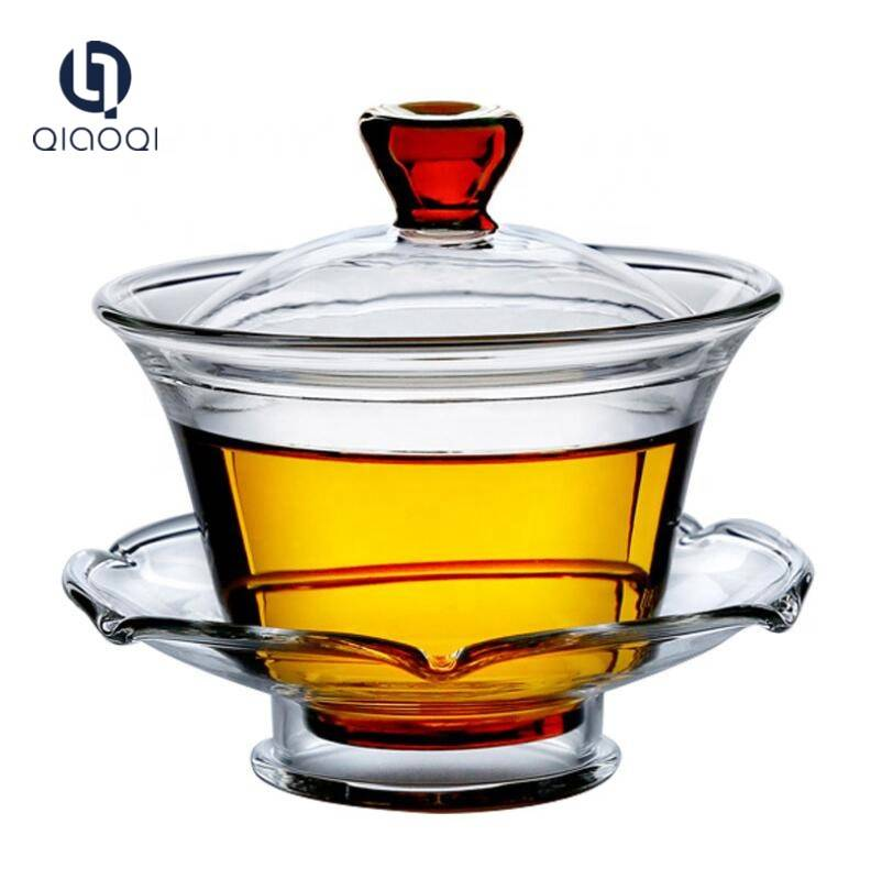Glass Tea Cup with Lid and Saucer