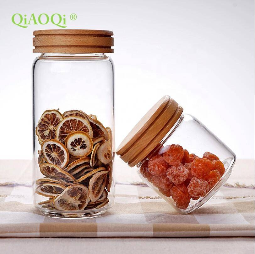 QiAOQi home goods sealed air tight glass jar with bamboo lid