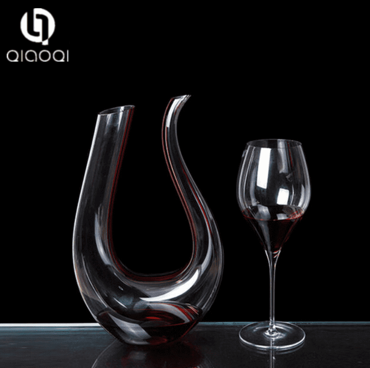 Crystal Glass U-shaped Wine Decanter with Red line / wine decanter carafe