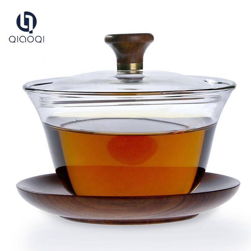 150ml Glass Tea Cup with Wood Saucer and Lid Set