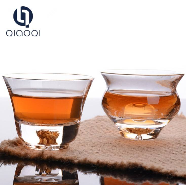 Manufacturer direct selling creative crystal glass tea cup gold foil tea cup