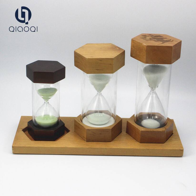 3 5 10mins glass sand timer hourglass sets with wood base