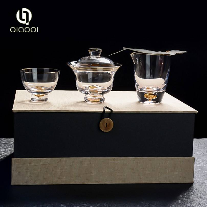 Hot Selling gold drawing heat resistant crystal glass tea cups manufacturer