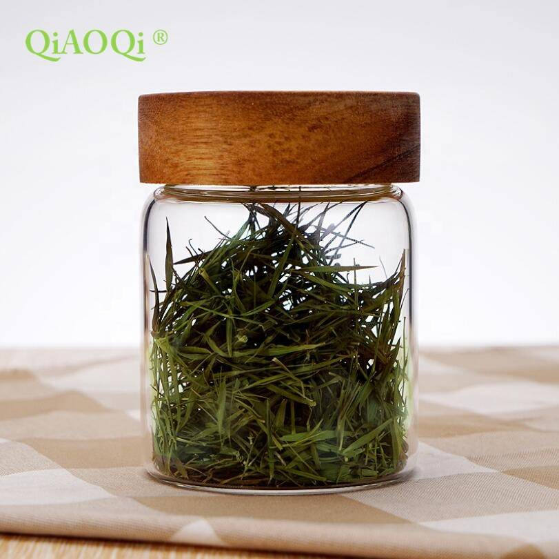 QiAOQi High borosilicate sealed small flowers tea storage glass jars with wooden lid