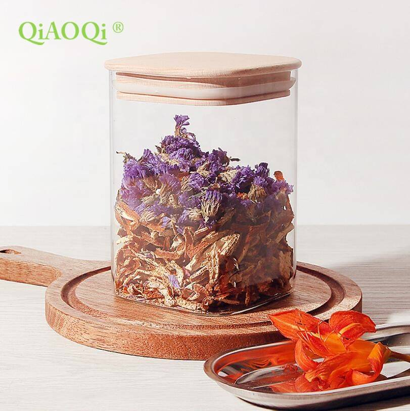QiAOQi home goods square sealed air tight glass jar with bamboo lid