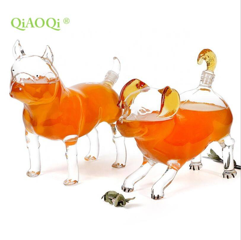 Factory Direct Sale Mouth-blown Borosilicate Animal Dog Shaped Clear Glass Decanter Wine Bottles