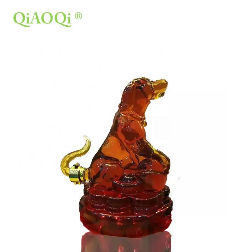 QiAOQi 1000ml glass gift with dog shape handmade wine glass bottles / empty vodka glass bottle