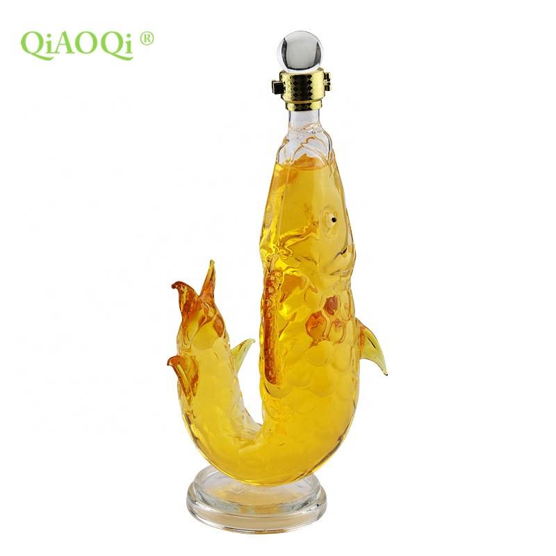 QiAOQi Clear Colored Custom Animal Fish Shape Glass Bottle for Beverage
