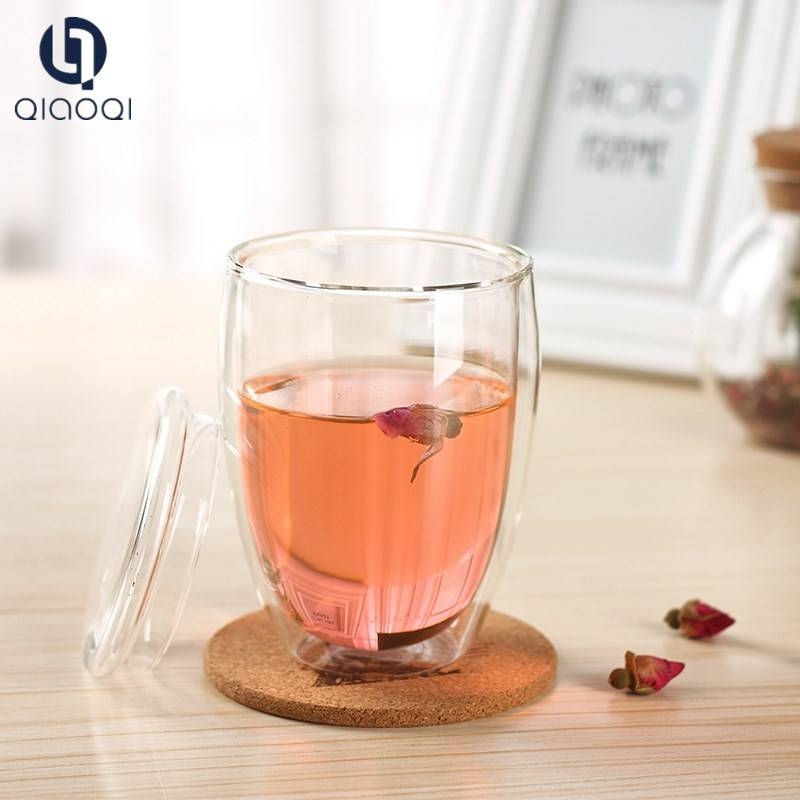 Double wall drinking glass cup with bamboo silicone cover
