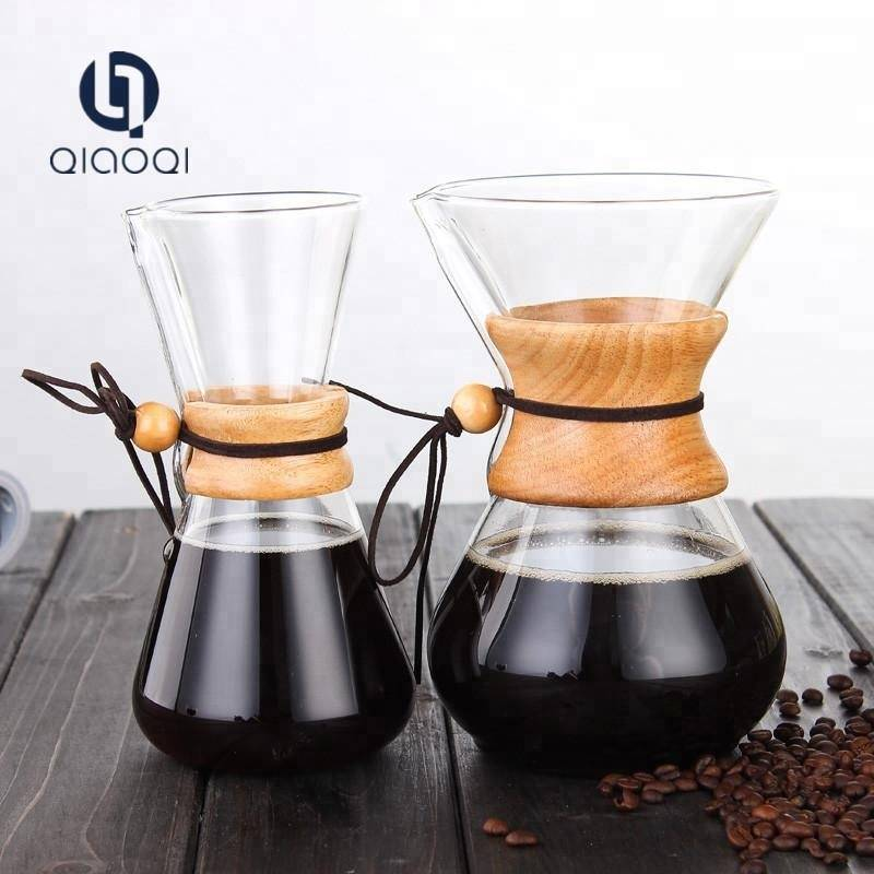 Unique Bamboo Pour Over Pour Over Coffee maker with Glass coffee dripper
