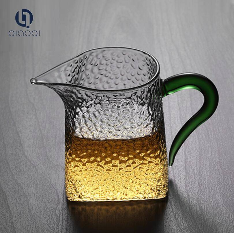 Heat-resistant Glass Kungfu Tea Fair Mug with color handle