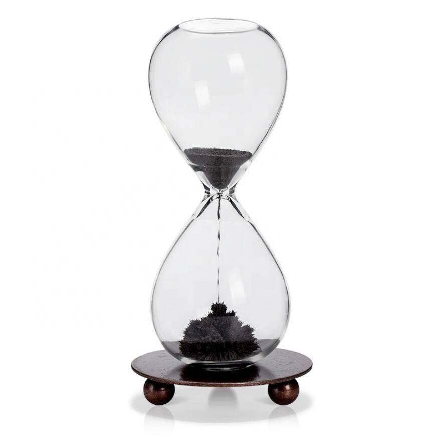 Manufacturer Wholesale Luxury unique promotional custom cheap craft souvenir gift magnetic hourglass sand timer with metal base