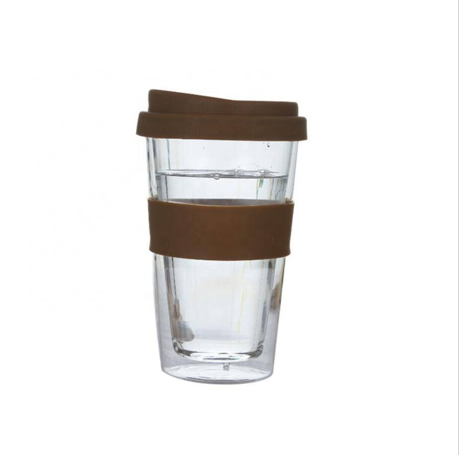 Custom Transparent Sleeve Travel Reusable Keep Glass Coffee Cup with Silicone Lid