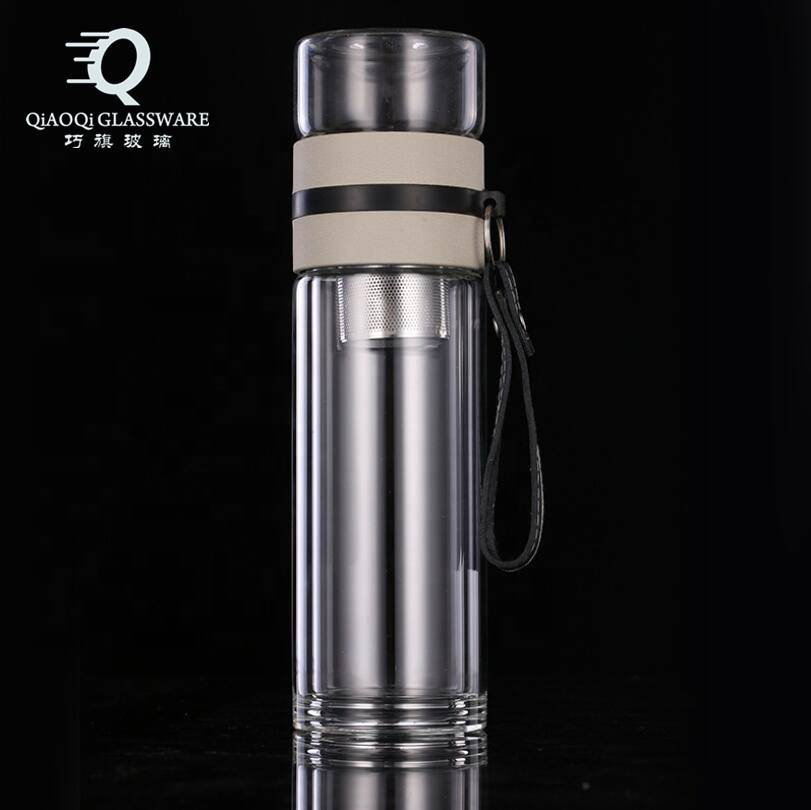 wholesale craft gift borosilicate double wall glass water bottle 2020