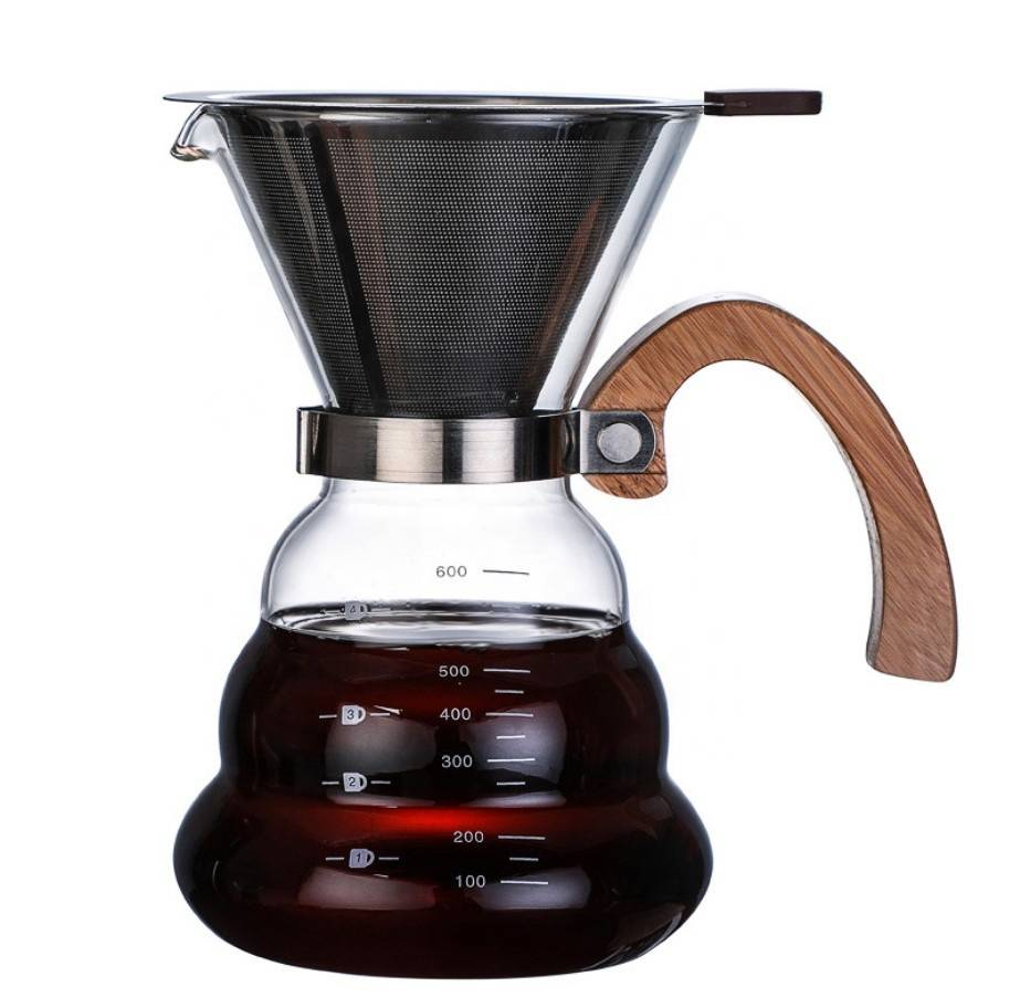 China Direct 400ML Transparent Hand Blown Glass Coffee Pot For Home
