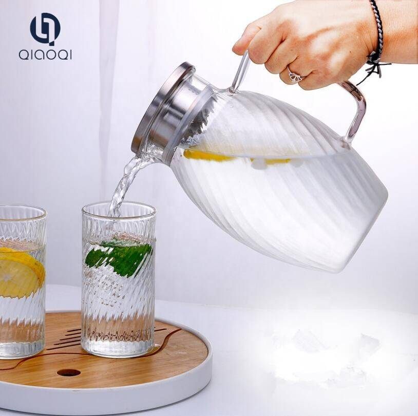 1.5L stainless steel large capacity glass cold water tea pot