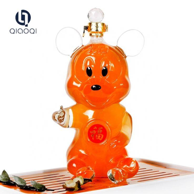 OEM/ODM Factory Wheather Storm Glass - Hot Sale Craft Gift Animal Mickey Mouse Shaped Glass Decanter Wine Bottle – Qiaoqi