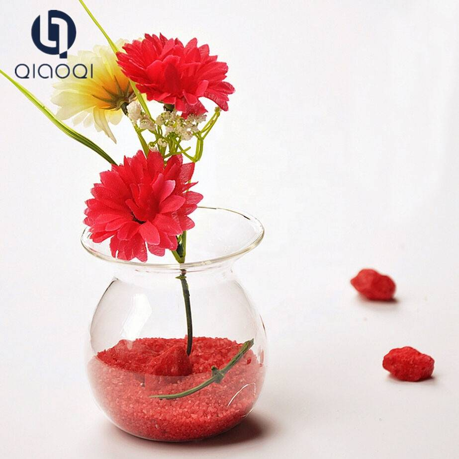 Wholesale Cheap Clear Small Hand Blow Glass Flower Vase
