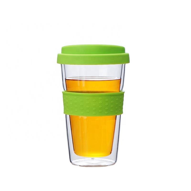 Wholesale Heat-resistant Travel Coffee Cup Glass Reusable Coffee Cup With Silicone Sleeve And Lid