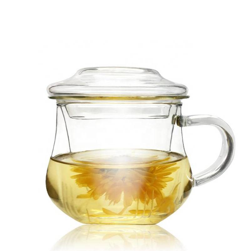 Wholesale Custom High Quality Handmade Borosilicate Glass FDA Certification funny glass tea cup set with infuser