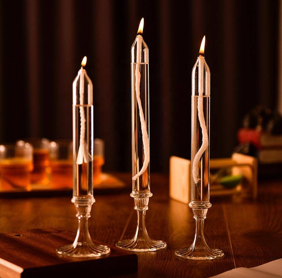 Factory Direct Sales High Quality Low Price Hand Made Clear Glass Candle Sticks