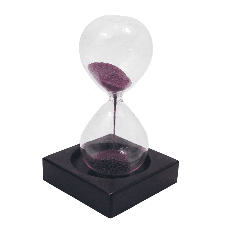 Factory wholesale creative design sand clock hand blown magnetic sand timer with custom sand color