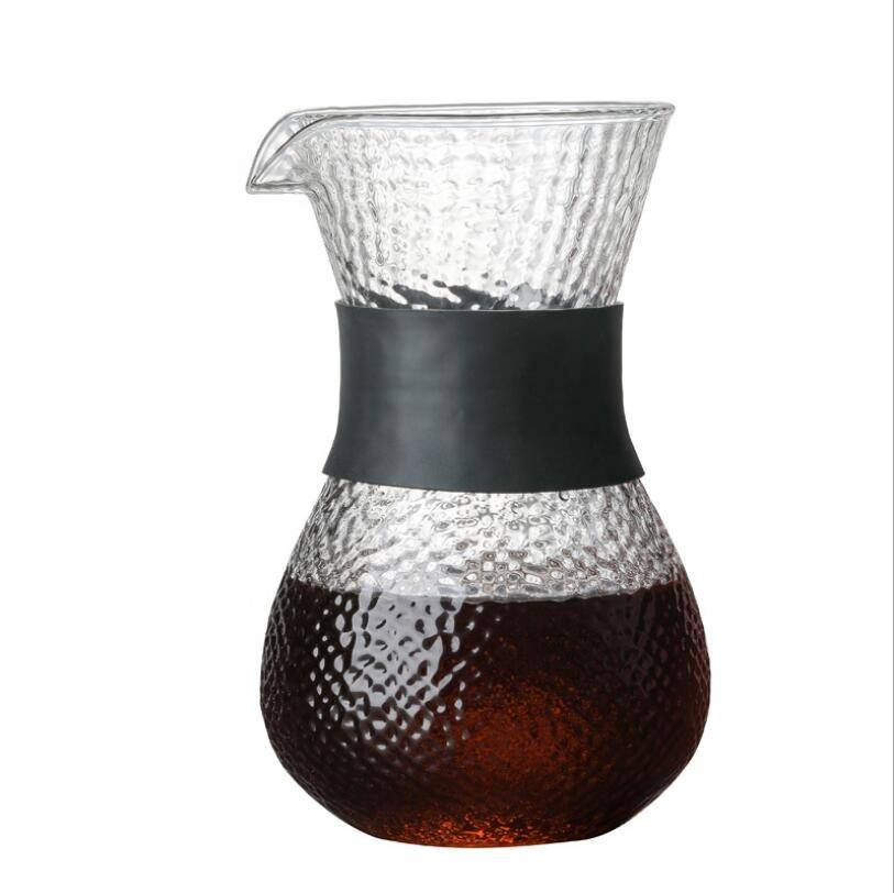 400ml Heat Resistant Borosilicate Glass Coffee Maker Pour Over Glass Coffee Pot With Silicone Sleeve