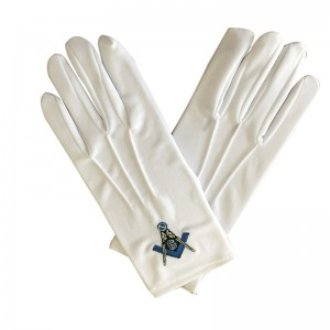 Masonic sword embroidery cotton gloves with button