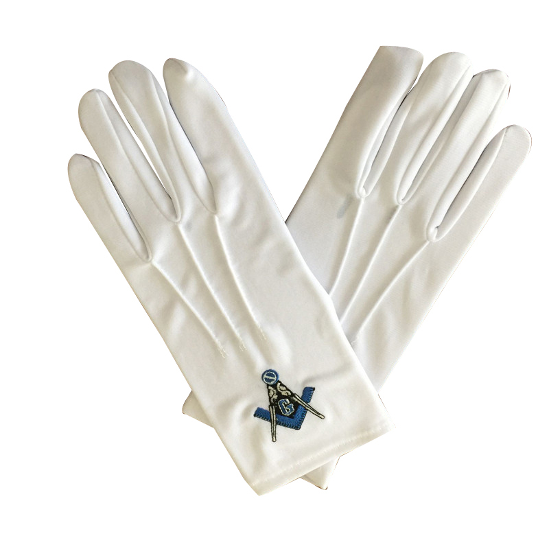 Masonic sword embroidery cotton gloves with button Featured Image