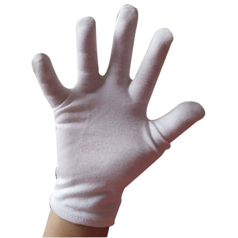 white cotton with spandex stretch gloves for kids eczema