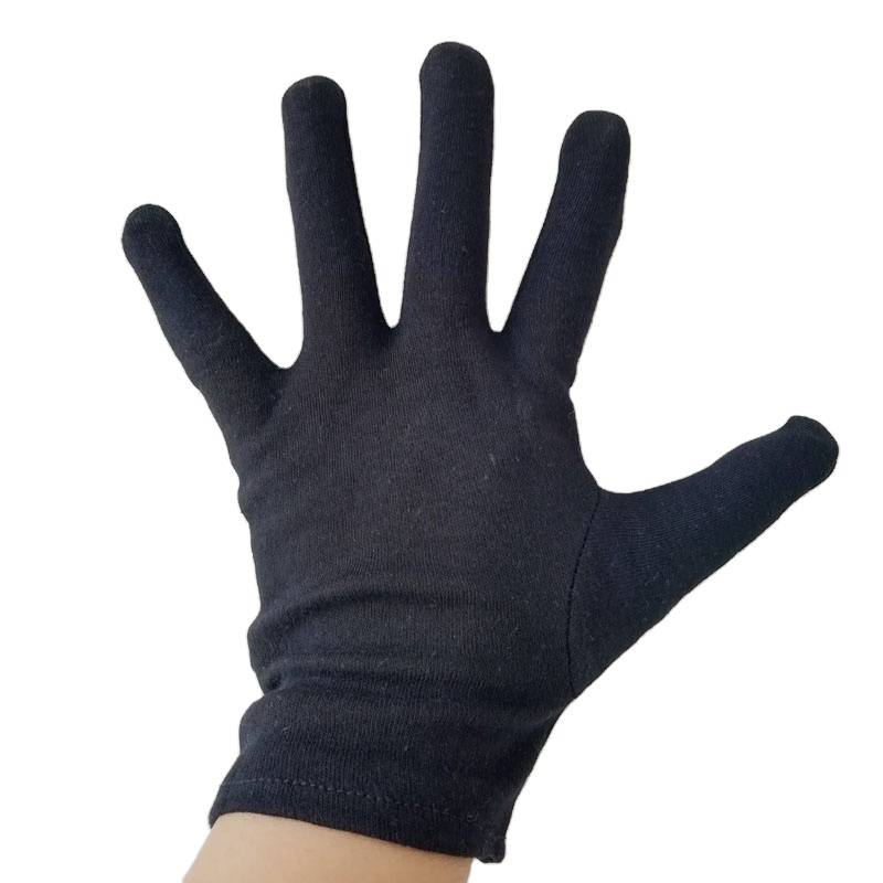 Blue and Black Color Cotton Protective Gloves