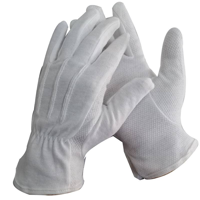 white cotton working knitted industrial safety job hand gloves with dots on palm
