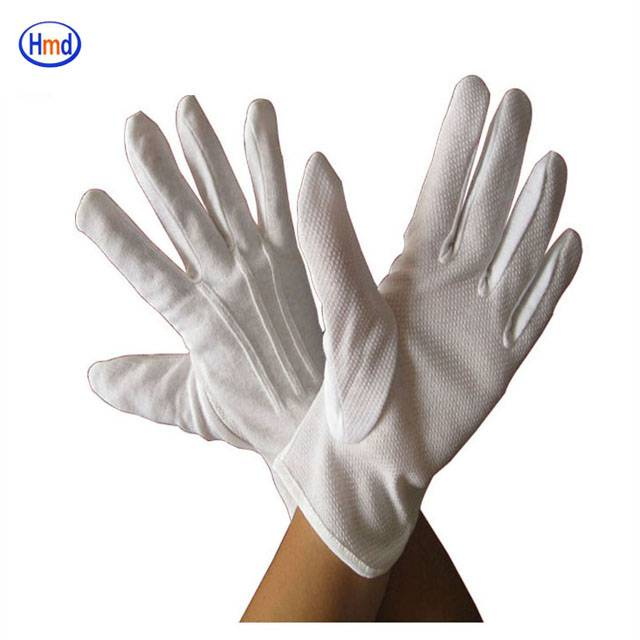 white non slip cotton driving gloves with dots on palm