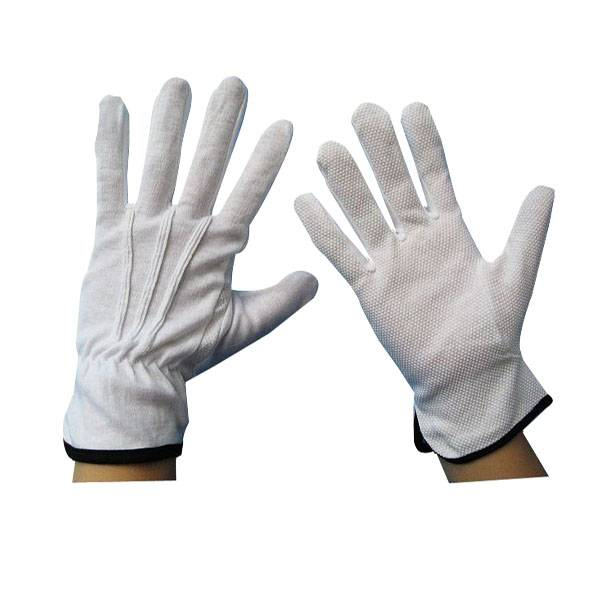 working safety white dotted parade gloves marching band cotton gloves