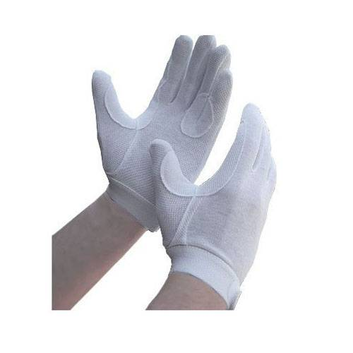 Horse Riding Gloves Cotton Track Gloves Pimple Grip White Adult Small