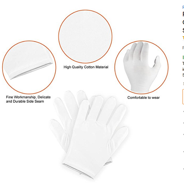 8 Year Exporter White Cotton Inspection Gloves - white cotton Moisture spa gloves for eczema – Hongmeida