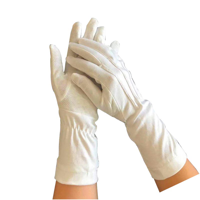2019 High quality Mens Extra Large White Cotton Gloves - White Parade Band Uniform Formal Ceremony cotton gloves with dots on palm Item No.: HMD-30WL – Hongmeida