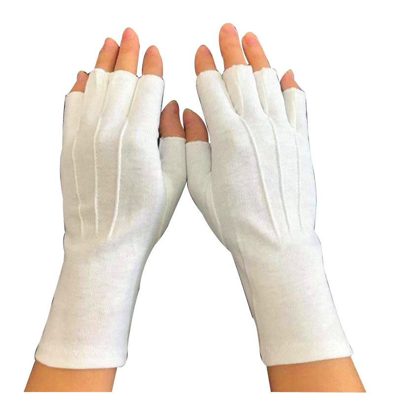 Special Design for Childrens White Cotton Gloves For Eczema - Fingerless Half Finger White Gloves with long wrist Item No.: HMD-2020WLF – Hongmeida