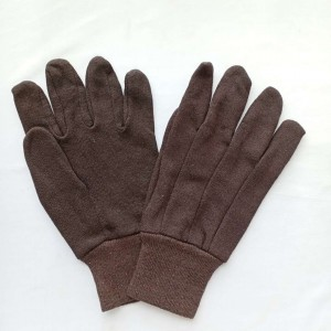 Reversible brown jersey working gloves