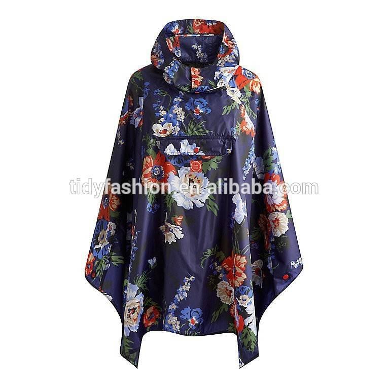 All Over Printing Ladies Fashion Waterproof Polyester Rain Ponchos With Pockets