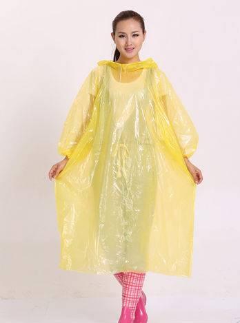 Transparent Adult Yellow Poncho Disposable Raincoat