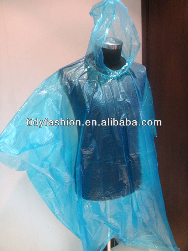 Emergency Disposable Lightweight Thin Easy To Carry Plastic Rain Poncho