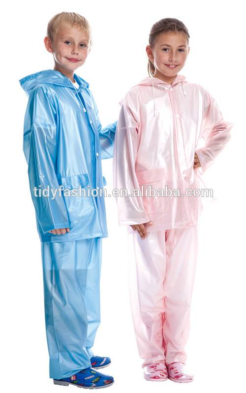 Cute Transparent Raincoat With Pants For Kids