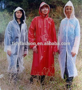 Transparent PVC Ladies Long Raincoat With Hooded