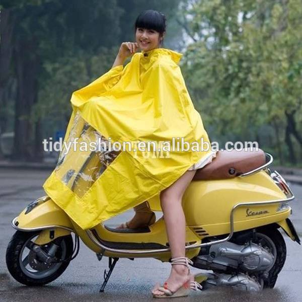 Yellow Printed Waterproof PVC Rain Poncho For Motorcycle